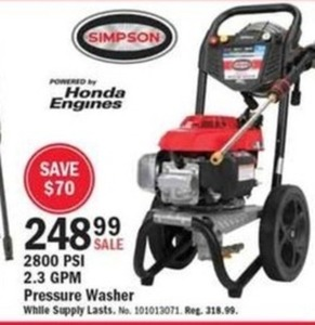 Simpson 2800 PSI 2.3 GPM Pressure Washer