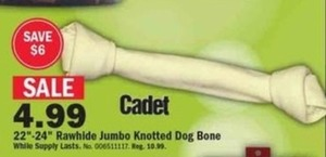 "Cadet 22""-24"" Rawhide Jumbo Knotted Dog Bone"