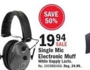 Single Mic Electronic Muff