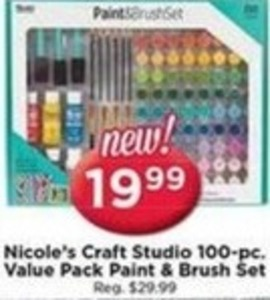 Nicole's Craft Studio 100pc Value Pack Paint & Brush Set