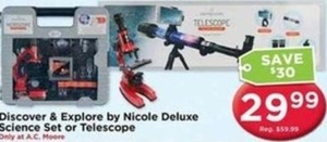 Discover & Explore by Nicole Deluxe Science Set or Telescope