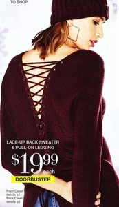Lace-up Back Sweater & Pull-On Legging