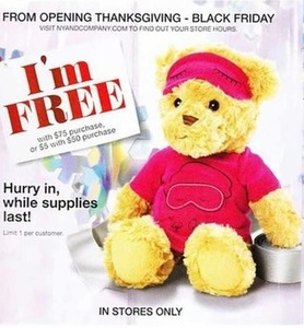Free Teddy Bear w/ $75+ Purchase