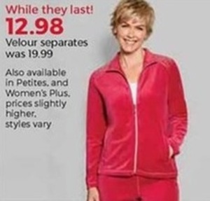 Women's Velour Separates