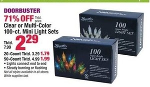 Clear or Multi-Color 50-ct. Mini Light Sets