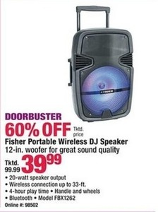Fisher Portable Wireless DJ Speaker