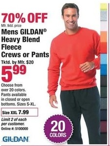 Mens Gildan Heavy Blend Fleece Crews or Pants
