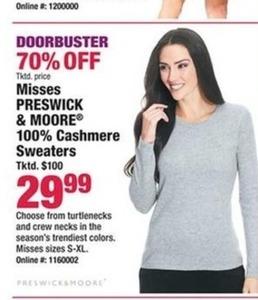 Preswick & Moore Women's 100% Cashmere Sweaters