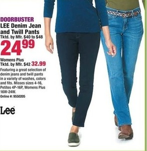 Lee Denim Jean and Twill Pants, Women's Plus