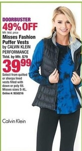 Misses Fashion Puffer Vests by Calvin Klein Performance