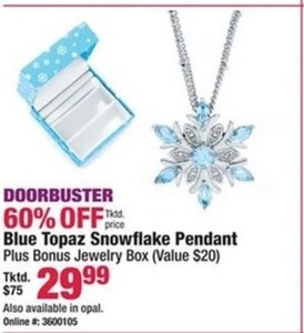 Blue Topaz Snowflake Pendant