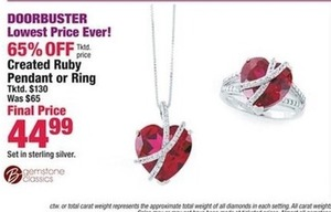 Created Ruby Pendant or Ring