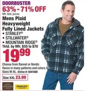 Mens Plaid Heavyweight Fully Lined Jackets