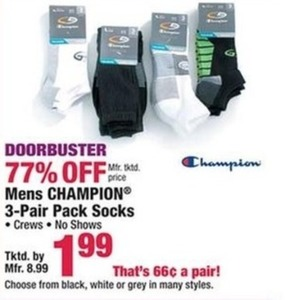 Mens Champion 3-Pair Pack Socks