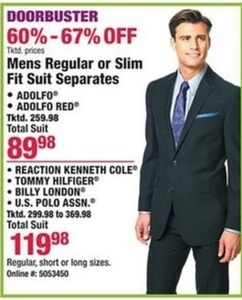 Mens Regular or Slim Fit Suit Separates