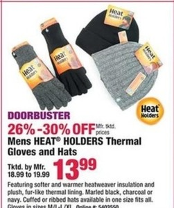 Mens Heat Holders Thermal Gloves & Hats