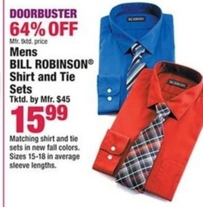 Mens Bill Robinson Shirt and Tie Sets