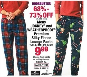 Mens Jockey and Weatherproof Premium Silky Fleece Lounge Pants