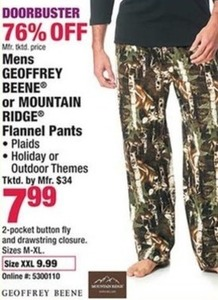 Mens Geoffrey or Mountain Ridge Flannel Pants