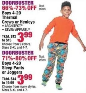 Boys Thermal Crews or Henleys