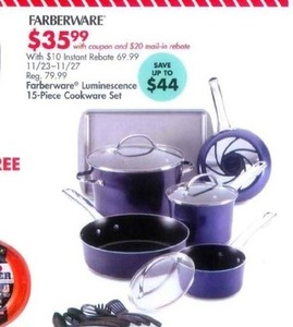 Farberware Luminescence 15 pc Cooking Set w/$20 rebate