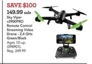 Sky Viper v2900PRO Remote Control Streaming Video Drone - 2.4 GHz Green/ Black