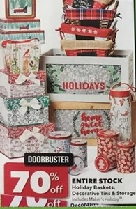 Holiday Baskets, Decorative Tins, and Storage