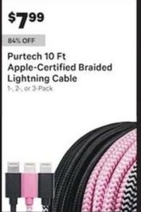 Purtech 10 Ft Apple-Certified Braided Lightning Cable