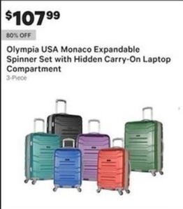 Olympia USA Monaco Expandable Spinner Set w Laptop Compartment