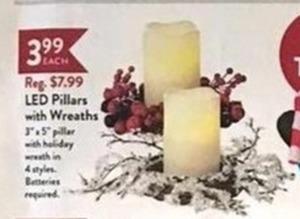 LED Pillars w/ Wreaths