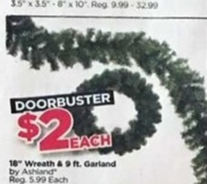 "18"" Wreath & 9 ft. Garland"