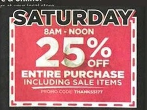 Sitewide Coupon (Saturday 8am-Noon)