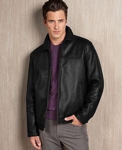 Perry Ellis Men's Portfolio Leather Jacket