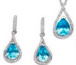 Blue Topaz Pendant and Earring Set