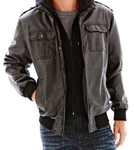 i jeans by Buffalo Hooded Faux-Leather Moto Jacket