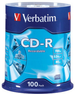 Verbatim - 100-Pack 52x CD-R Disc Spindle
