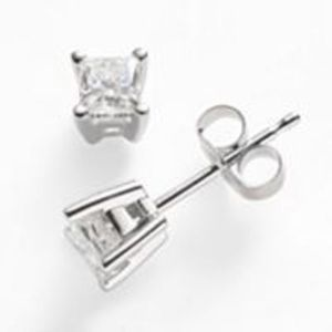 1/2 ct t.w. IGI Certified Diamond Princess-Cut Solitaire Earrings
