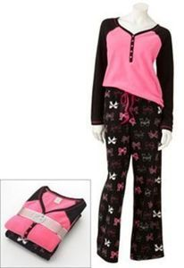 Sonoma Life + Style Knit Top and Fleece Pants Pajama Set