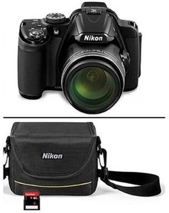 "Nikon COOLPIX P520 18MP 3.2"" LCD 42x Optical Zoom Digital Camera Bundle w/ 8GB SD card and bag"