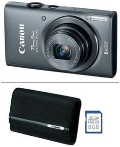 "Canon PowerShot ELPH 130 IS 16MP 3"" LCD 8x Optical Zoom Wi-Fi Digital Camera, 8GB SD Card and Case"