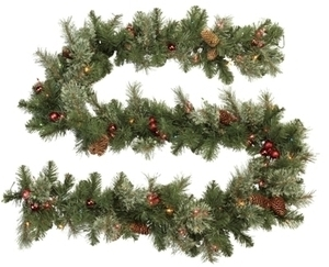 J&J Seasonal 9ft Multi-Colored Prelit Brookhaven Garland