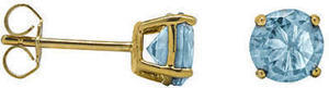 Gold Over Silver 6MM Round Blue Topaz Stud Earrings