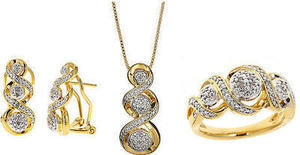 1/10 ct. tw. Diamond Swirl Pendant Necklace, Ring and Earrings