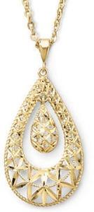 Filigree Drop Pendant Necklace 10K Gold