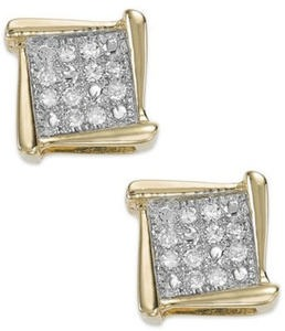 Diamond Accent Square Stud Earrings in 10k Gold
