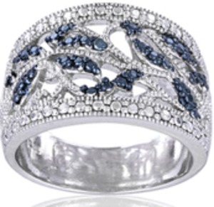 DB Designs Blue Diamond Accent Leaf Design Ring