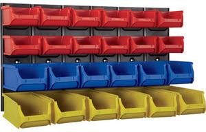 Metal Wall-Mount Rack with 24 Bins