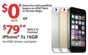 iPhone 5s 16GB + $75 Gift Card w/ 2yr Contract