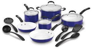 Cuisinart 15-Piece Ceramic Cookware Set (Assorted Colors)