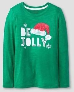 Cat & Jack Girls' Be Jolly Long Sleeve Graphic T-Shirt